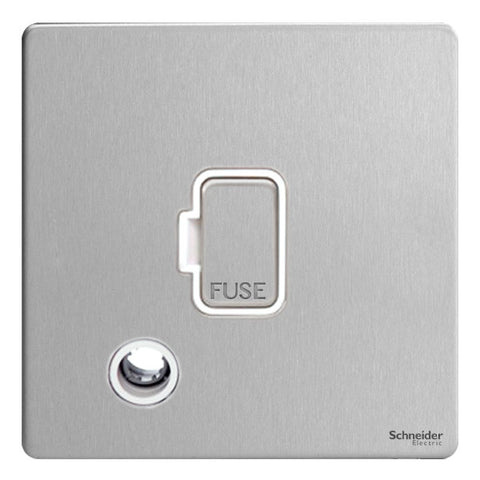 GU5403WSS Ultimate screwless flat plate stainless steel white insert 13A unswitched + flex outlet fused connection unit