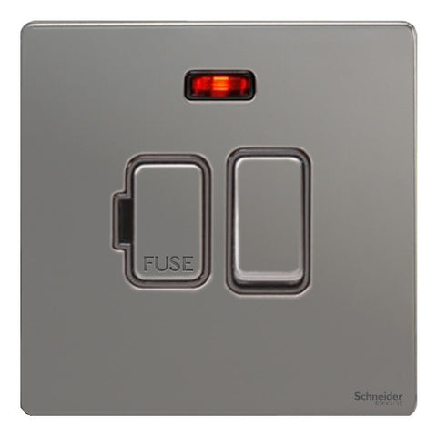 GU5411BBN Ultimate screwless flat plate black nickel black insert 13A switched + neon fused connection unit