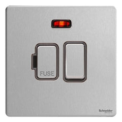 GU5411BSS Ultimate screwless flat plate stainless steel black insert 13A switched + neon fused connection unit