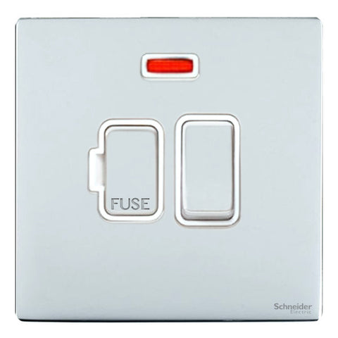 GU5411WPC Ultimate screwless flat plate polished chrome white insert 13A switched + neon fused connection unit