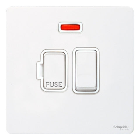 GU5411WPW Ultimate screwless flat plate white metal white insert 13A switched + neon fused connection unit