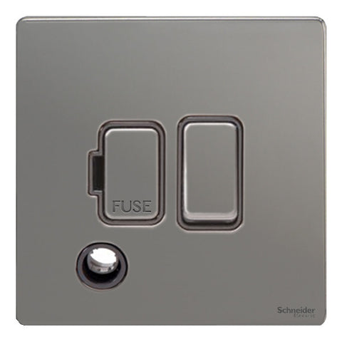 GU5413BBN Ultimate screwless flat plate black nickel black insert 13A switched + flex outlet fused connection unit