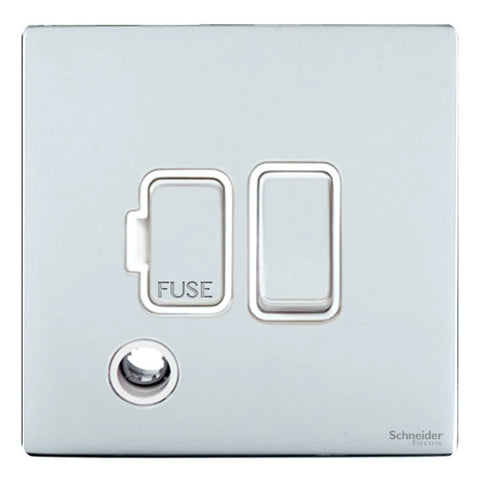 GU5413WPC Ultimate screwless flat plate polished chrome white insert 13A switched + flex outlet fused connection unit
