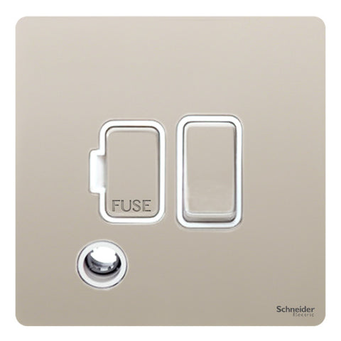 GU5413WPN Ultimate screwless flat plate pearl nickel white insert 13A switched + flex outlet fused connection unit