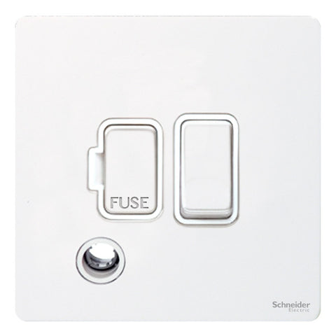 GU5413WPW Ultimate screwless flat plate white metal white insert 13A switched + flex outlet fused connection unit