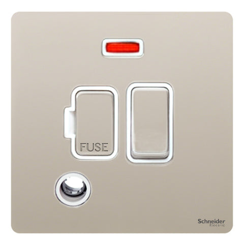 GU5414WPN Ultimate screwless flat plate pearl nickel white insert 13A switched + neon + flex outlet fused connection unit