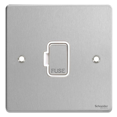 GU5500WBC Ultimate low profile brushed chrome white insert 13A unswitched fused connection unit
