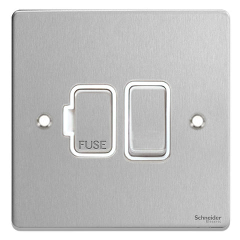 GU5510WBC Ultimate low profile brushed chrome white insert 13A switched fused connection unit