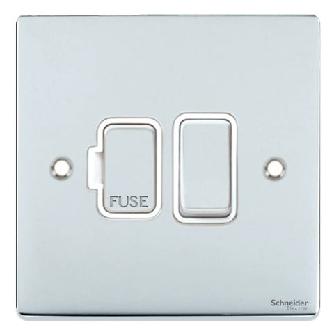 GU5510WPC Ultimate low profile polished chrome white insert 13A switched fused connection unit