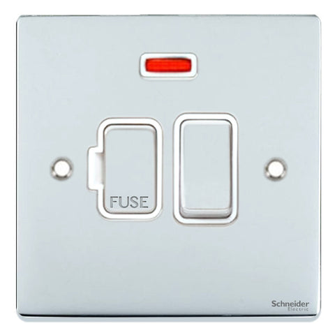 GU5511WPC Ultimate low profile polished chrome white insert 13A switched + neon fused connection unit