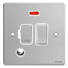 GU5514WBC Ultimate low profile brushed chrome white insert 13A switched + neon + flex outlet fused connection unit