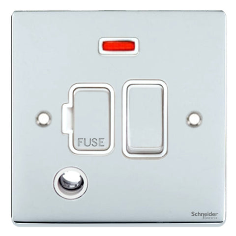 GU5514WPC Ultimate low profile polished chrome white insert 13A switched + neon + flex outlet fused connection unit