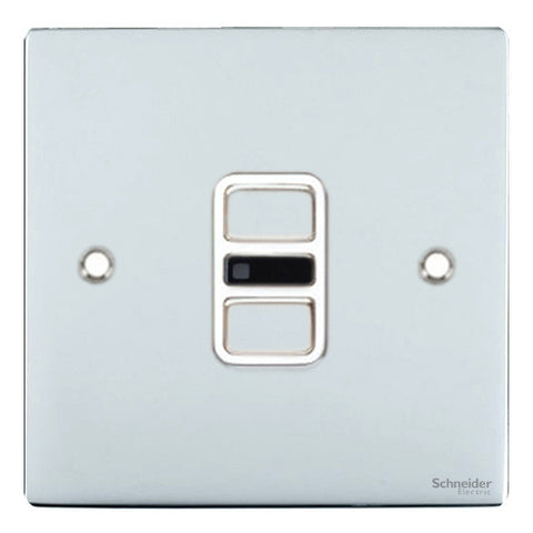 GU6212RWPC Ultimate flat plate polished chrome white insert 1 gang slimline IR remote control 350W/300VA