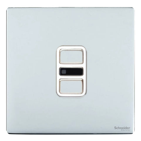 GU6412RWPC Ultimate screwless flat plate polished chrome white insert 1 gang slimline IR remote control 350W/300VA