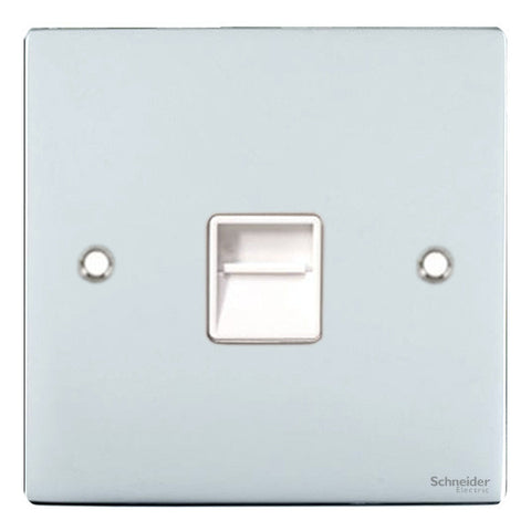 GU7262WPC Ultimate flat plate polished chrome white insert Secondary telephone socket