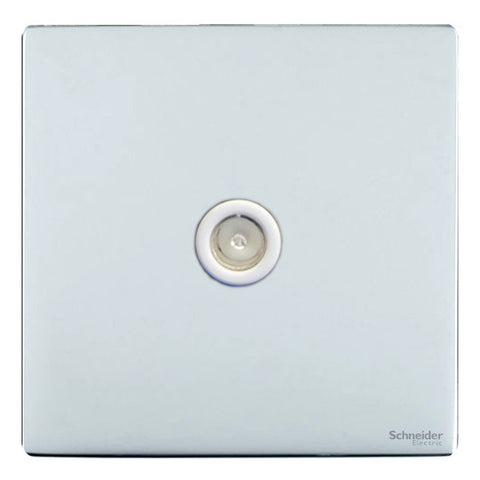 GU7410WPC Ultimate screwless flat plate polished chrome white insert single TV/FM co-axial