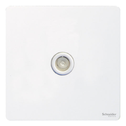 GU7410WPW Ultimate screwless flat plate white metal white insert single TV/FM co-axial