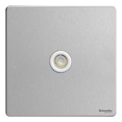 GU7410WSS Ultimate screwless flat plate stainless steel white insert single TV/FM co-axial