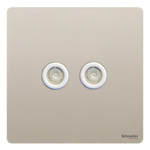 GU7420WPN Ultimate screwless flat plate pearl nickel white insert twin TV/FM co-axial