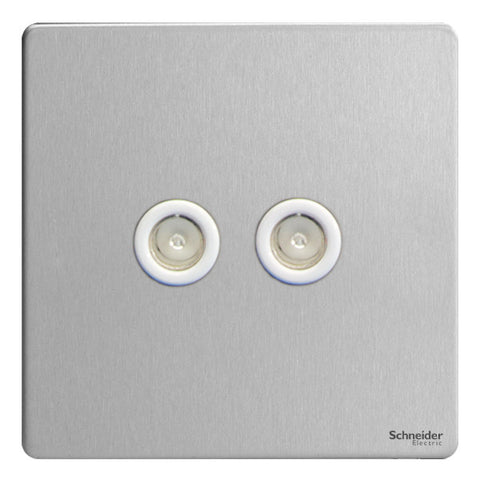 GU7420WSS Ultimate screwless flat plate stainless steel white insert twin TV/FM co-axial