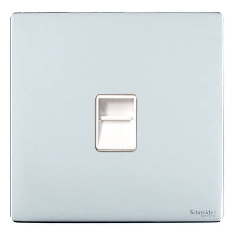 GU7451WPC Ultimate screwless flat plate polished chrome white insert Single RJ11 telephone/data outlet