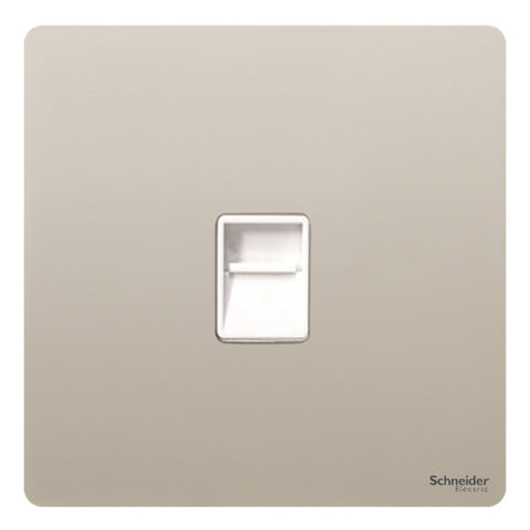 GU7451WPN Ultimate screwless flat plate pearl nickel white insert Single RJ11 telephone/data outlet