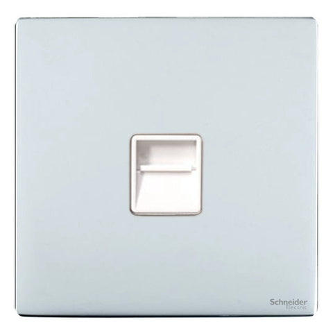 GU7462WPC Ultimate screwless flat plate polished chrome white insert Secondary telephone socket