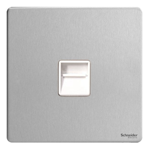 GU7462WSS Ultimate screwless flat plate stainless steel white insert Secondary telephone socket