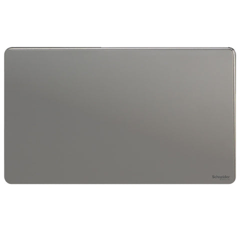 GU8420BN Ultimate screwless flat plate black nickel 2 gang blank plate