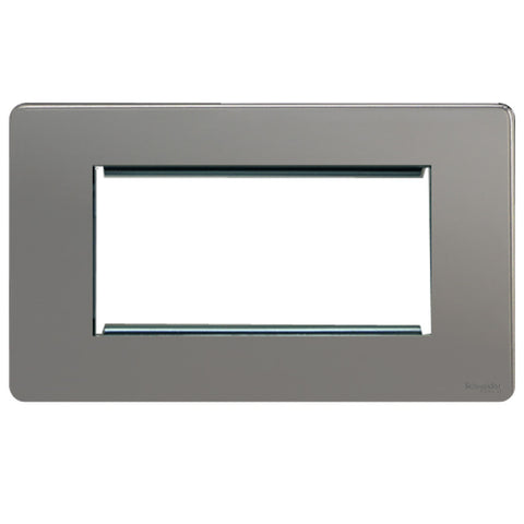 GU8480BN Ultimate screwless flat plate black nickel 4 euro modular plate