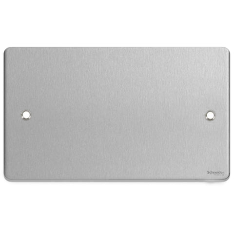 GU8520BC Ultimate low profile brushed chrome 2 gang blank plate
