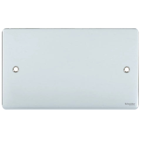 GU8520PC Ultimate low profile polished chrome 2 gang blank plate