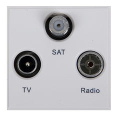 GUE7081W Ultimate euro module white TV/Radio/Sat1 - (triplexed) 50 x 50mm