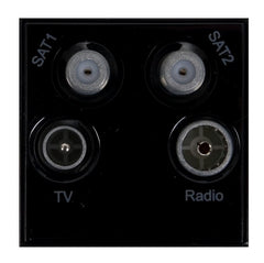 GUE7082B Ultimate euro module black TV/Radio/Sat1/Sat2 - (quad) 50 x 50mm