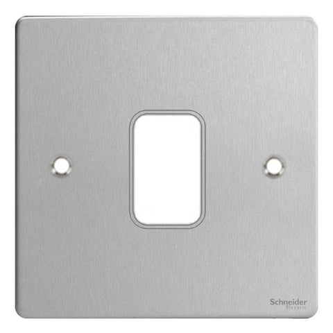 GUG01GSS Ultimate grid flat cover plate stainless steel 1 gang (c/w mounting frame)