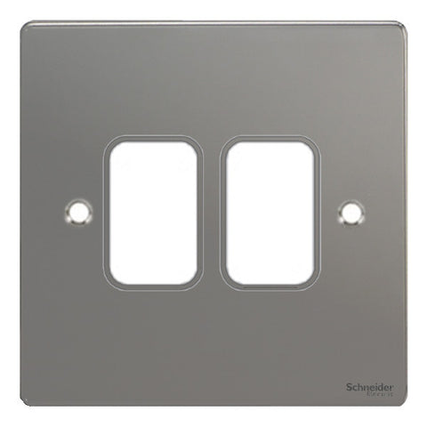 GUG02GBN Ultimate grid flat cover plate black nickel 2 gang (c/w mounting frame)