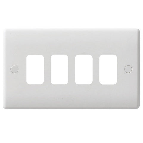 GUG04G Ultimate grid white moulded 4 gang flush plate (c/w mounting frame)