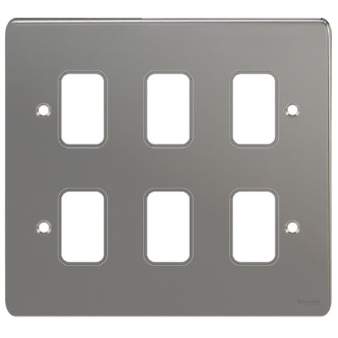 GUG06GBN Ultimate grid flat cover plate black nickel 6 gang (c/w mounting frame)