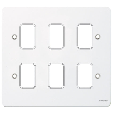 GUG06GPW Ultimate grid flat cover plate white metal 6 gang (c/w mounting frame)