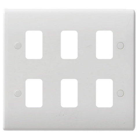 GUG06G Ultimate grid white moulded 6 gang flush plate (c/w mounting frame)