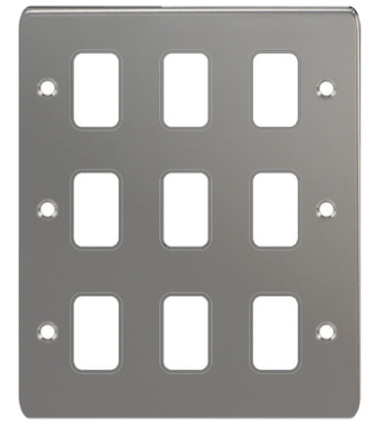 GUG09GBN Ultimate grid flat cover plate black nickel 9 gang (c/w mounting frame)