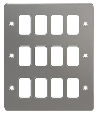 GUG12GBN Ultimate grid flat cover plate black nickel 12 gang (c/w mounting frame)
