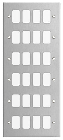 GUG24GSS Ultimate grid flat cover plate stainless steel 24 gang (c/w mounting frame)