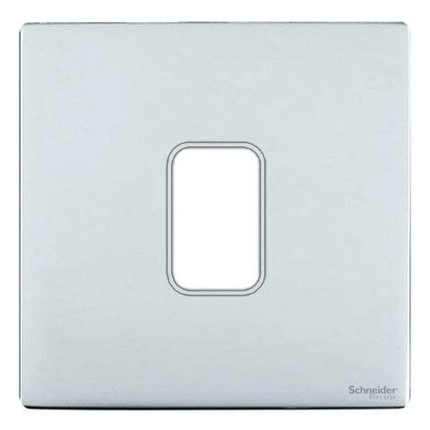 GUGS01GMS Ultimate grid screwless cover plate mirror steel 1 gang (c/w mounting frame)