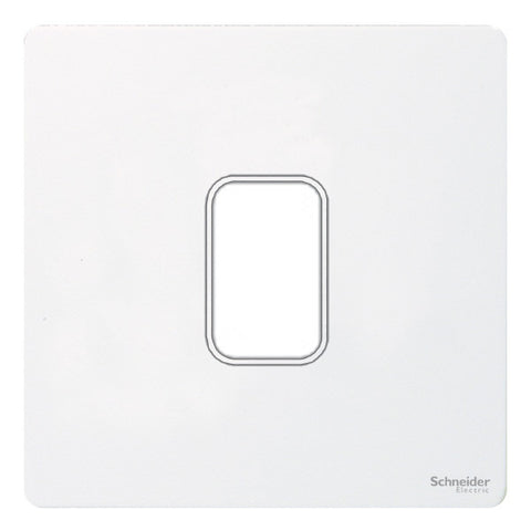 GUGS01GPW Ultimate grid screwless cover plate white metal 1 gang (c/w mounting frame)