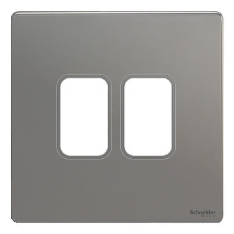 GUGS02GBN Ultimate grid screwless cover plate black nickel 2 gang (c/w mounting frame)