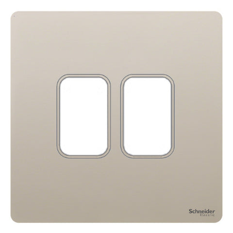 GUGS02GPN Ultimate grid screwless cover plate pearl nickel 2 gang (c/w mounting frame)