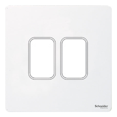 GUGS02GPW Ultimate grid screwless cover plate white metal 2 gang (c/w mounting frame)
