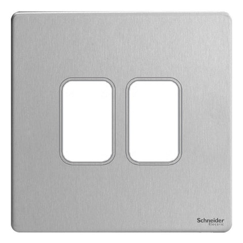 GUGS02GSS Ultimate grid screwless cover plate stainless steel 2 gang (c/w mounting frame)