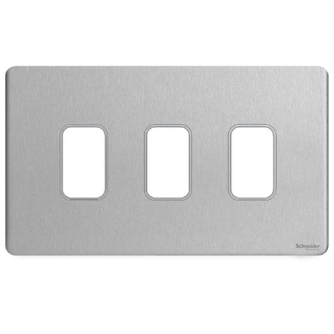 GUGS03GSS Ultimate grid screwless cover plate stainless steel 3 gang (c/w mounting frame)